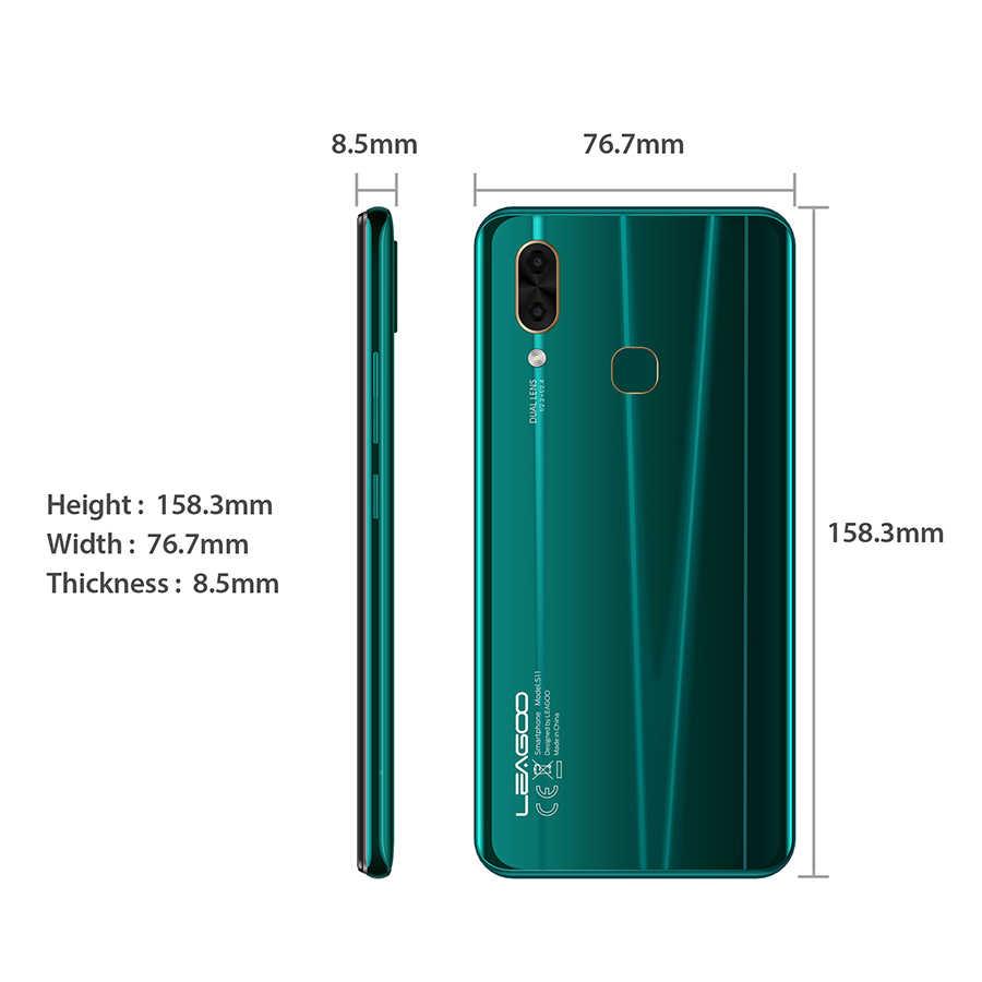 """LEAGOO S11 4GB 64GB Android 9.0 6.3 """"écran goutte d'eau Smartphone Helio P22 Octa Core 13MP double caméra empreinte digitale téléphone portable"""