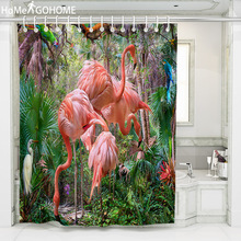 3D Flamingo Shower Curtains Waterproof Bathroom Curtain Tropical Plant Polyester Fabric Bath Curtain Bathroom Shower Decorations цена 2017