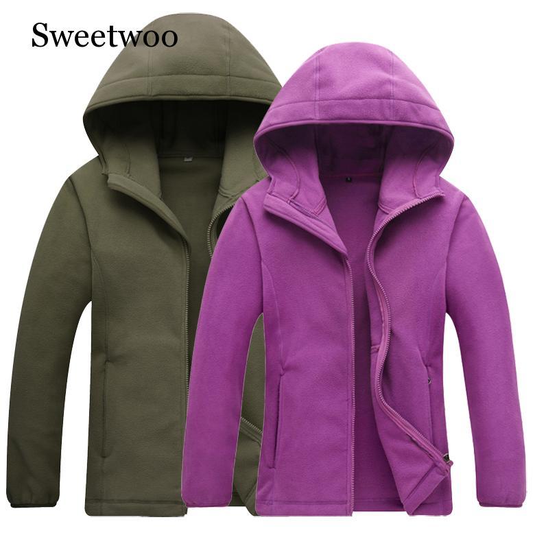 2019 Winter Thick Keep Warm Men Women Polar Fleece Hooded Coat Windproof Quick Dry Jacket Outdoor Climbing Skiing Fleece Jacket