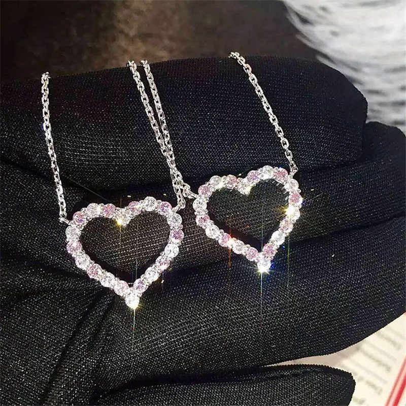 choucong Lovers Heart Pendant 925 Sterling silver Bijou Pave AAAAA cz Party Wedding Pendant with Necklace for women jewelry Gift