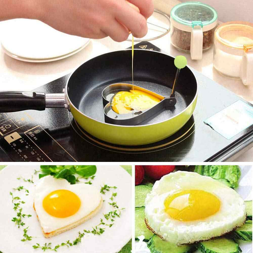 1 pçs de aço inoxidável frito ovo shaper panqueca molde omelete anéis molde coração fritar ovo cozinhar ferramentas acessórios cozinha tslm2