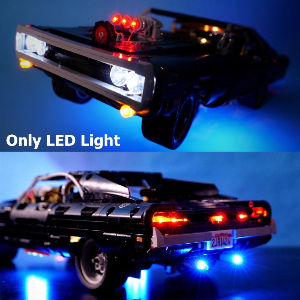 (Apenas luz) kit de iluminação led para a técnica dom dodge carregador 1970 blocos de construção do carro conjunto tijolos clássico filme modelo brinquedos 42111
