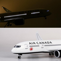 1/130 Scale B787 43cm Boeing B787 Canada Airlines Aircraft Model With Light And Wheels Plastic Resin Plane For Collection Gift