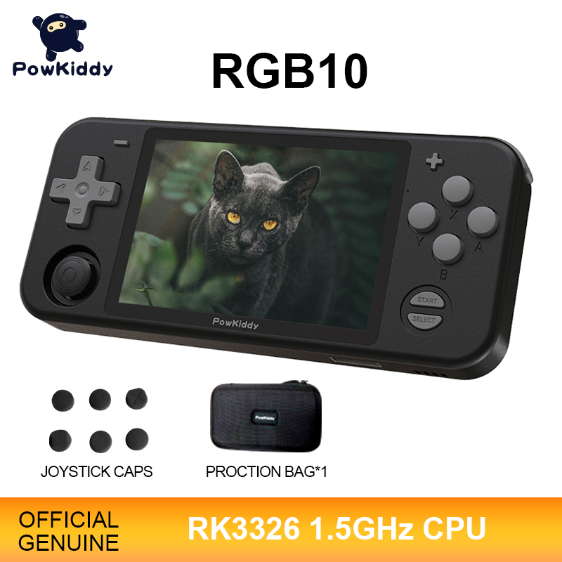 POWKIDDY RGB10 Black Version Open Source System Handheld Game Console RK3326 Chip 3 5-Inch IPS HD Screen 3D Rocker Retro Game