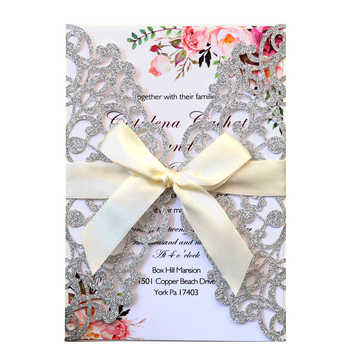Glitter Laser Cut Wedding Invitations with Ribbon and Envelopes for Engagement Bridal Shower Birthday Party Cards - DISCOUNT ITEM  0% OFF All Category