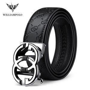 Image 2 - WilliamPolo ceinture en cuir véritable pour homme, marque de luxe, ceinture de qualité haut de marque, sangle en métal, boucle automatique