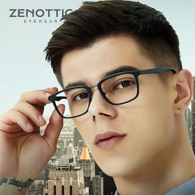 Квадратные оправы для очков ZENOTTIC из ацетата по рецепту для мужчин, прозрачные линзы, деловая оправа для очков, оптические очки для близорукости