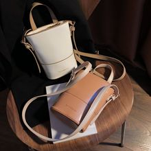 Handbag bag female 2020 spring and summer new bucket bag niche shoulder bag messenger bag transparent bucket bag and pouch bag