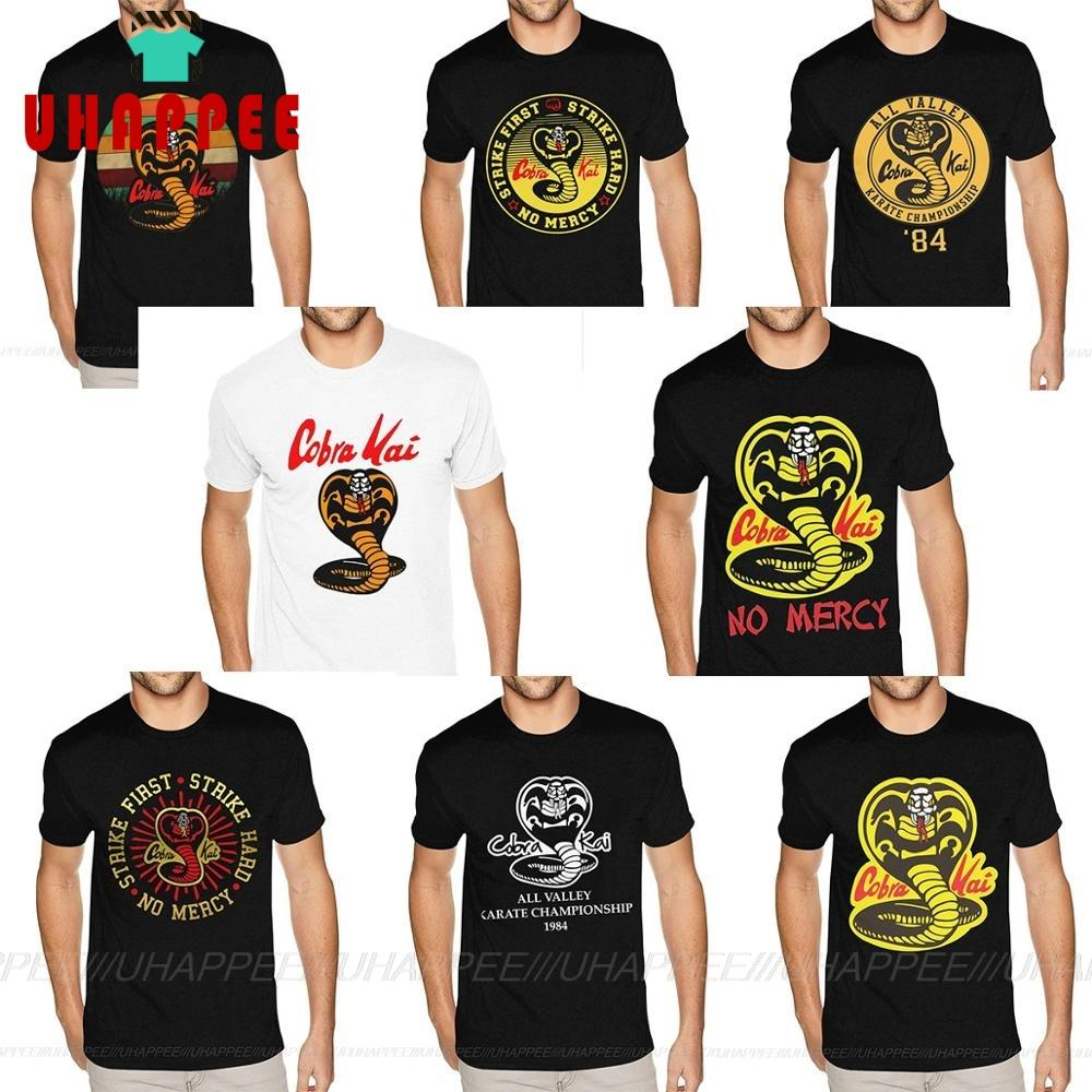 Shirt Mens Short-Sleeved Crew Cobra Kai Black Custom-Made Karate Kid Plus-Size Cotton