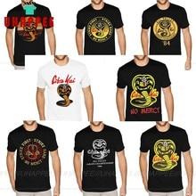 Custom Made Cobra Kai The Karate Kid Tees Shirt Mens Plus Size Short Sleeved Cotton Black Crew T-Shirts