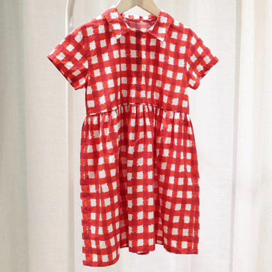 2020 Kids Dress Girls Spring Summer Sweet Girls Plaid Shirt Style Short Sleeve Dress Cotton A-line Dress