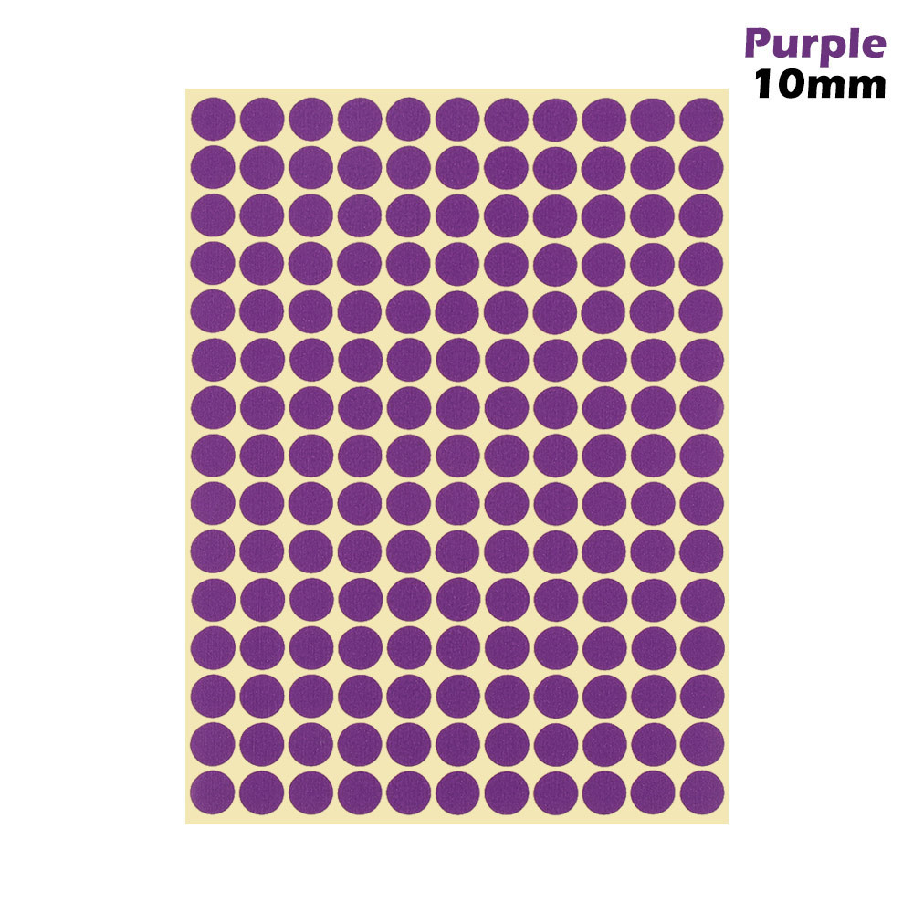 1 лист 10 мм/19 мм цветные наклейки в горошек круглые круги точки бумажные клеящиеся этикетки офисные школьные принадлежности - Цвет: purple 10mm