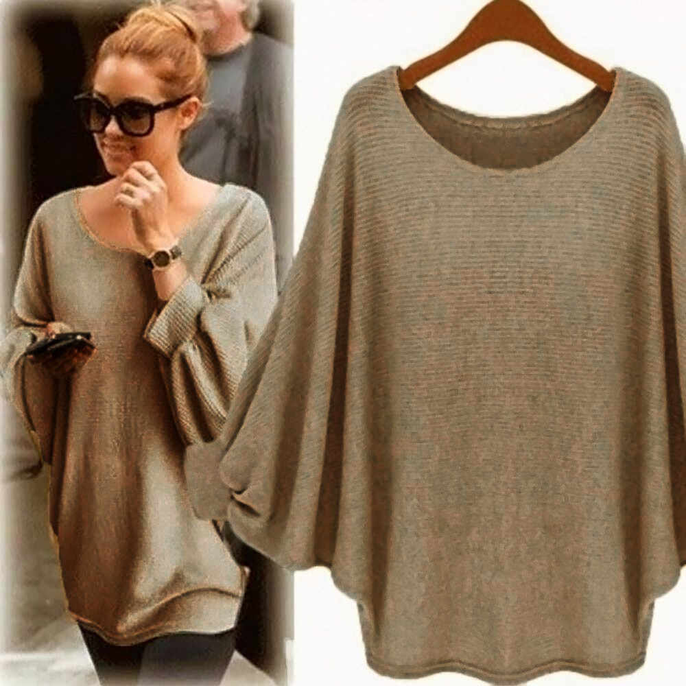 Autumn Thin Sweater Women Casual Solid Oversized Batwing Knitted NEW Fashion Pullover Loose Sweater camisas mujer sweater women