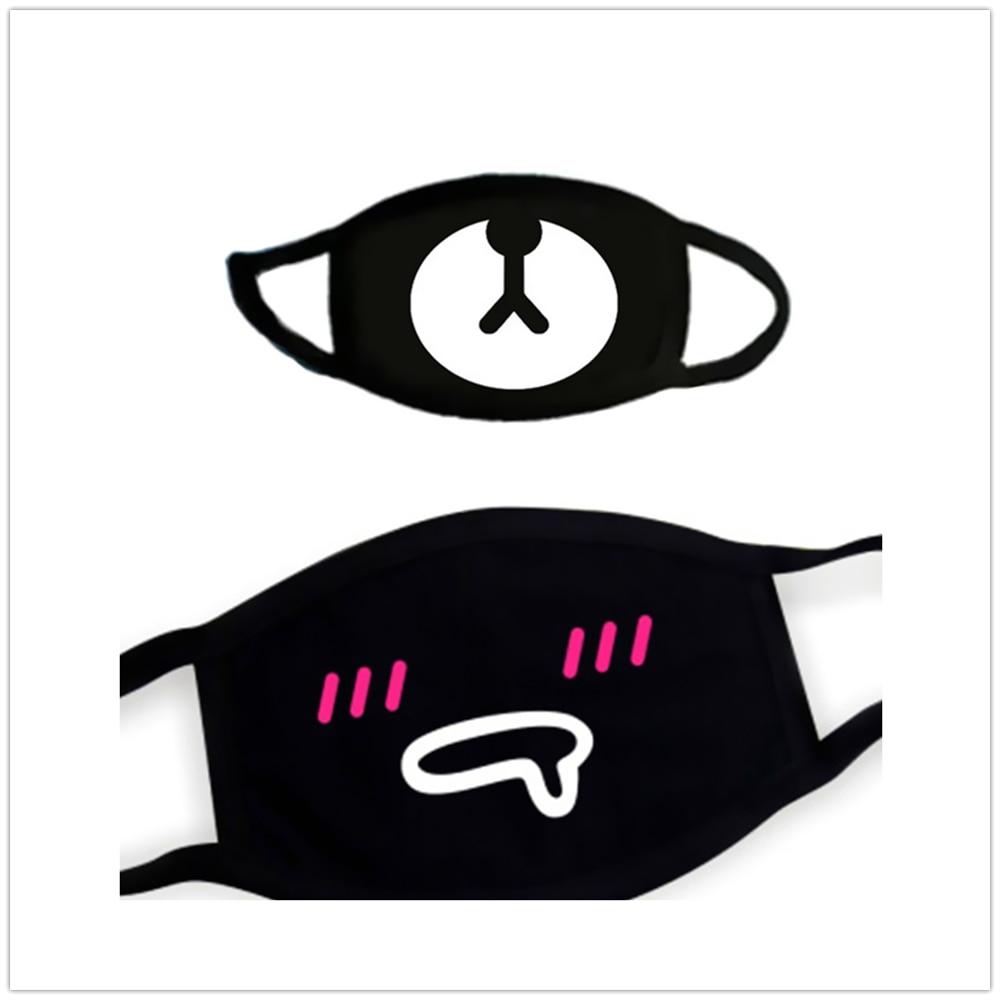 100% Original Breathable Black Mask Anti-smog Cute Bear Cat Cartoon Animal Face Mask Black White 1Pcs KZ-01-J