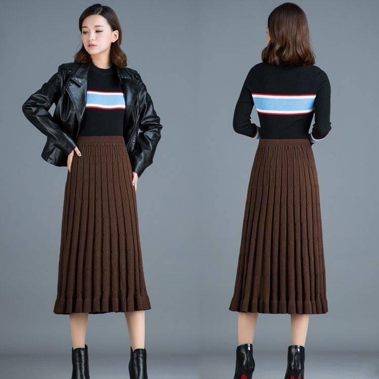Korean New 2020 Fashion Skirts Womens Casual Autumn Winter Knit Ladies Skirts High Waist A-Line Saias Femininas