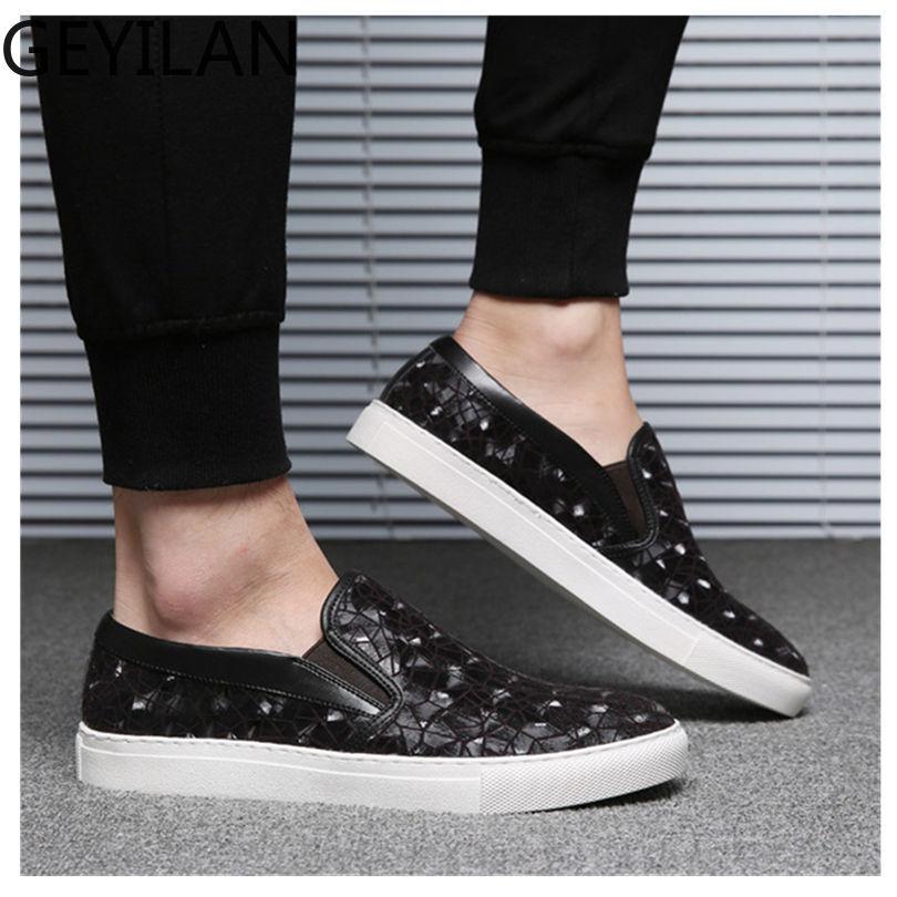 Haute qualité concepteur été automne hommes sans lacet baskets chaussures en daim cuir couture géométrie motif hommes mocassins chaussures - 5
