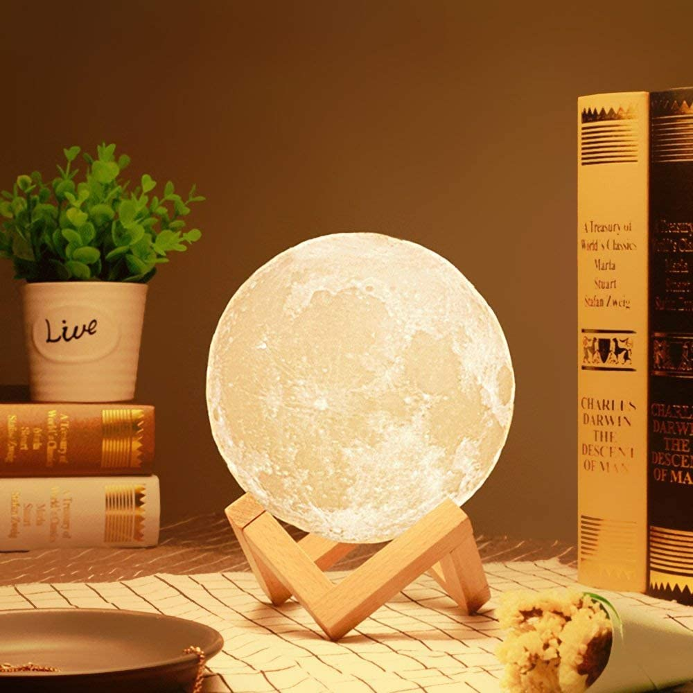 3D Print Moon Lamp Colorful Change Touch Usb Led N