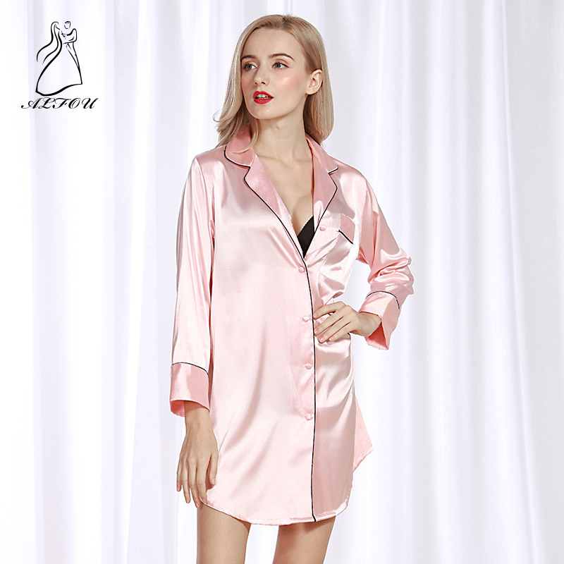 Simulation Silk Sleep Lounge Nightgowns & Sleepshirt Sleepwear Night Dress Nightwear Women Sexy Sense Pajamas Home Service