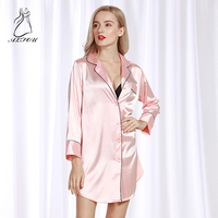 Simulation Silk Sleep Lounge Nightgowns & Sleepshirt Sleepwear Night Dress Nightwear Women Sexy Sense Pajamas Home Service