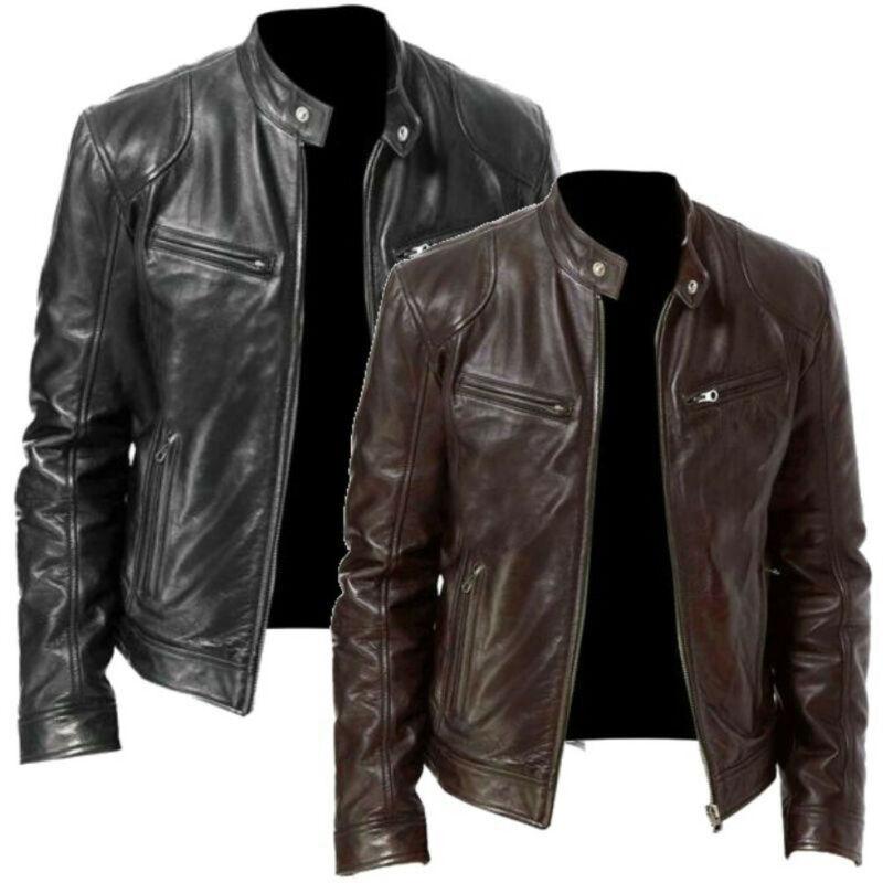Men Fake Fur Leather Jacket Men Slim Fit Warm Coat Motorcycle Lambskin Standing Collar Genuine Leather Coat
