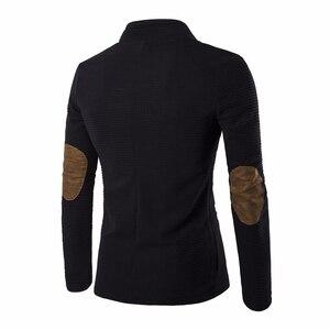 Image 2 - Moda erkek takım elbise marka blazer slim fit masculino 2019 yeni moda terno masculino kişilik olmadan yaka dikiş