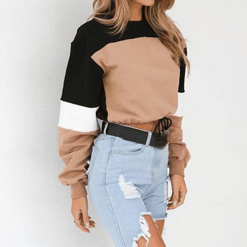 Hot Women Hoodies Long Sleeve Loose Crop Top 2020 Autumn Sweatshirt Casual Patchwork O Neck Elastic Waist Pullovers Streetwear