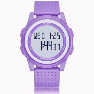 Топ ohsen электронные спортивные женские наручные часы Фиолетовый Будильник Секундомер 2 часовых пояса часы для женщин браслет часы для студе...