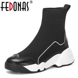 Image 1 - FEDONAS الجوارب أحذية النساء الخريف الشتاء الدافئة حذاء من الجلد عالية الكعب أسافين منصة حذاء كاجوال امرأة جديدة حقيقية أحذية من الجلد
