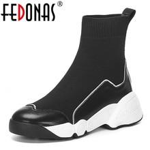 Fedonas meias botas femininas outono inverno quente tornozelo botas de salto alto cunhas plataforma sapatos casuais mulher novos sapatos de couro genuíno