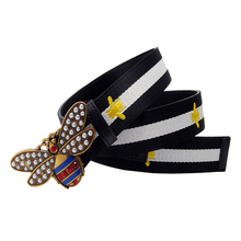 Western Bee Embroidery Contrast Color Canvas Leather Women Belt Fashion Rhinestone Peal Buckle Lady