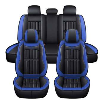11PCS 5 Seats Car Seat Covers Automobiles Seat Covers Protector Cushion Deluxe PU Leather Front+Rear Full Set SUV Truck 9