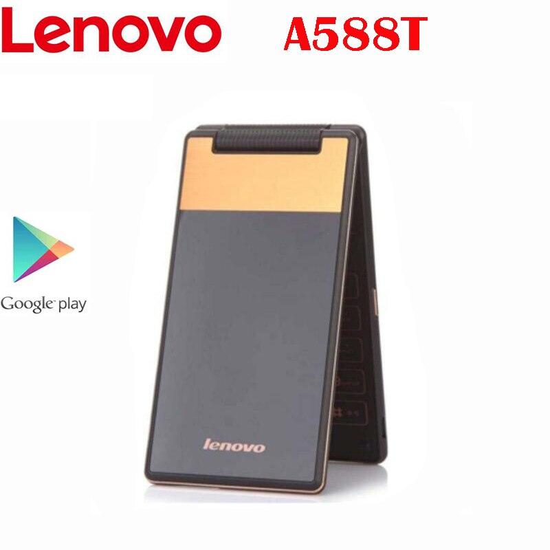Новый оригинальный Lenovo A588T Чехол для мобильного телефона с откидной MTK6582 Quad Core 1,3 ГГц 512 Мб ОЗУ 4G ROM 5.0MP камера 4,0 ''800*480P Android 4,4 OS