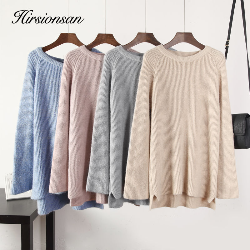 Hirsionsan Shiny Lurex Thicken Sweater Women Cashmere Winter New Knitted Split Pullover Bell Sleeve Tops Oversize Female Clothes