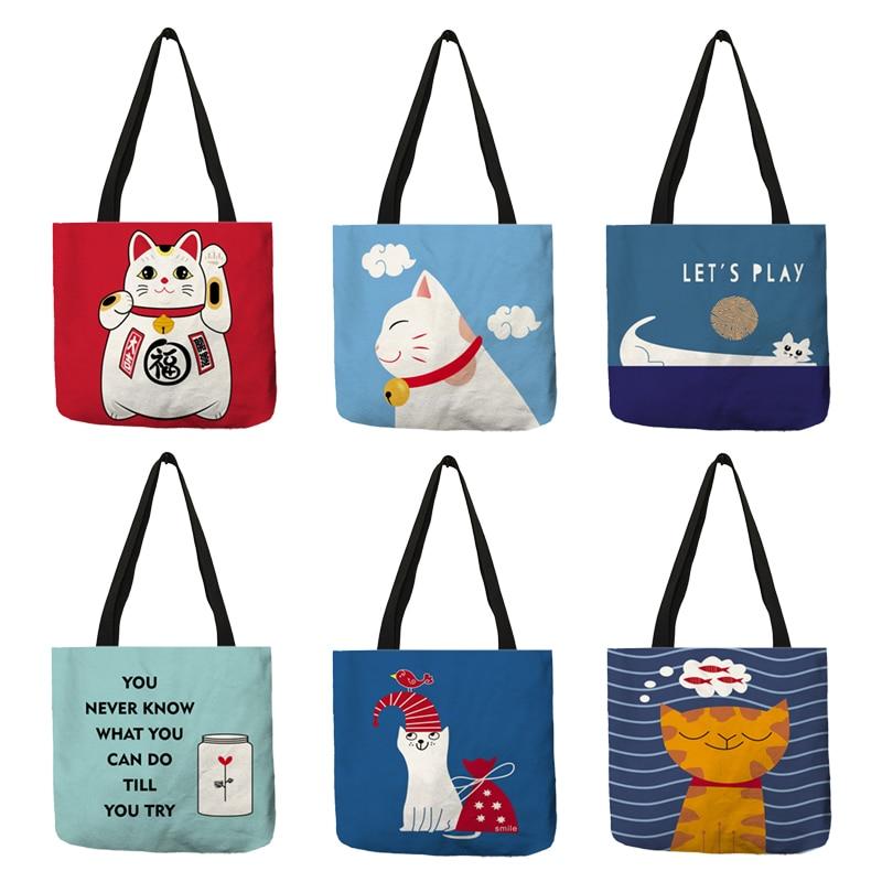 Cartoon Animal Cat Print Tote Bag For Women Folding Reusable Shopping Bags Linen Handbags Pouch