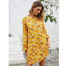 2019 New arrival Autumn vintage Small Flowers print long sleeve Flare dress female casual chic dresses vestidos
