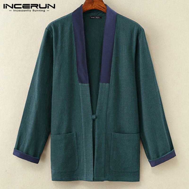 INCERUN Chinese Style Men Shirts Long Sleeve Loose Single Button Vintage Patchwork Streetwear Pockets Cardigan Casual Shirt Men