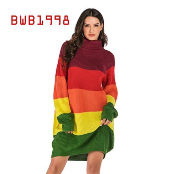 BWB1998 High Collar Contrast Color Mid-length Casual Sweater Women Autumn Women Winter Clothes Loose and Thin Sweater Find Flare contrast collar and cuff grid dress