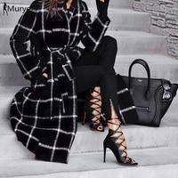 Winter coat women wool blend plaid vintage windbreaker coat female warm tweed hooded waistband fleece elegant ladies streetwear