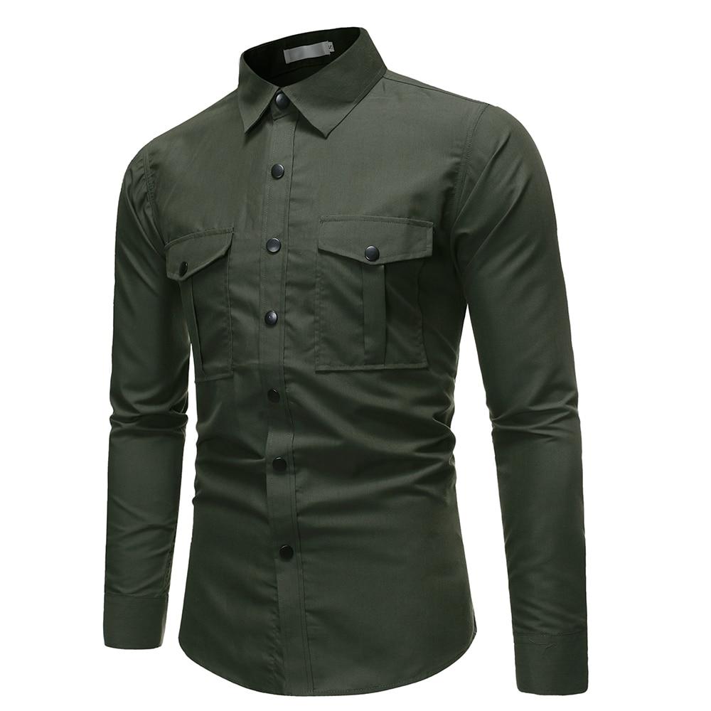 2019 New Autumn Button Cootn Military Shirt Men Long Sleeve Casual Shirts Tactical Business Shirt