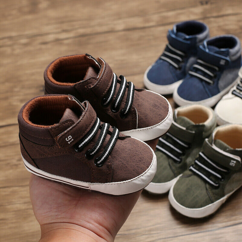 Fashion Newborn Infant Baby Boys Girls Sneakers Leather Sports Crib Shoes Casual Soft First Walker Prewalkers Trainers 0-18M