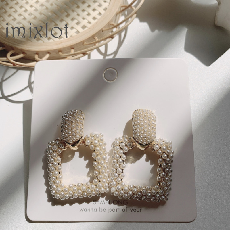2020 New Statement ZA Earrings Women Geometric Square Faux Pearl Earrings Female Wedding Bridal Party Evening Hanging Earrings(China)
