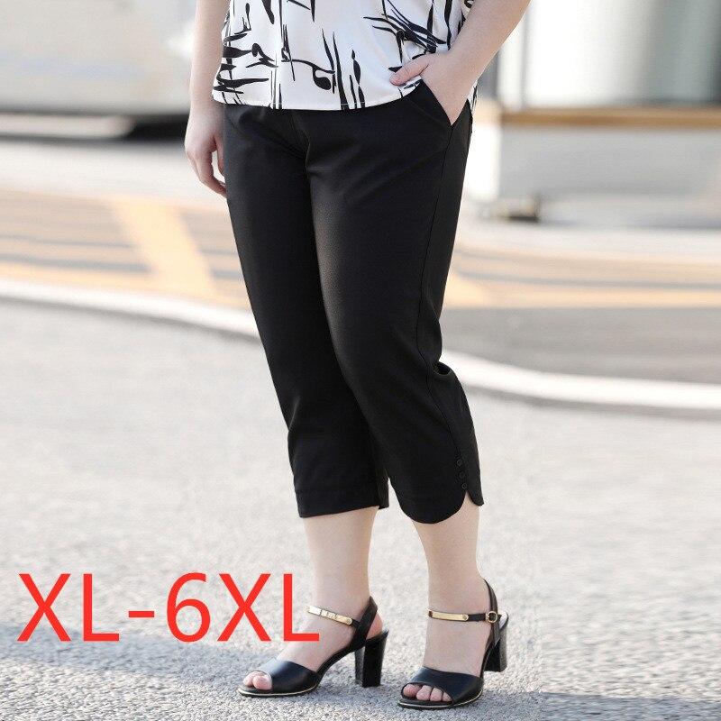 New 2020 Korea summer plus size capri pants for women large loose casual black chiffon pocket straight trousers 3XL 4XL 5XL 6XL