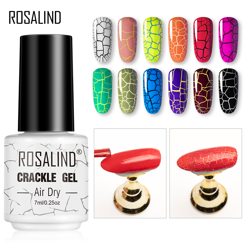 ROSALIND Crackle Gel Nail Polish For Nail Art Manicure Set Air Dry Nail Polish Need Base Color Gel Varnishes Lacuqer