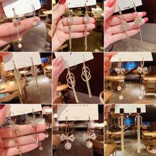 925 prata agulha longa borla brincos forma geométrica irregular moda feminina brincos longos brincos de casamento