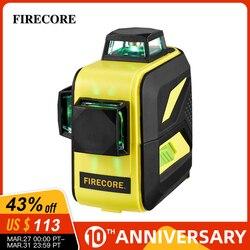 FIRECORE F93T-XG 12 Linee 3D Livello Laser Verde LR6/Batteria Al Litio Auto-Livellamento Orizzontale e Verticale Linee Trasversali può Usare Ricevitore