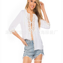 2019 Autumn WOMEN'S Dress-Style Middle Sleeve T-shirt Sexy Lace Tops Casual Loose-Fit Shirt S-5xl Code