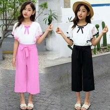 Summer Big Girls Suit Girl Clothing Set Kids Short Sleeve+Pants Princess Children Clothing Set 4 6 7 8 9 10 11 12 13 14 Years