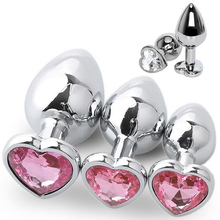 Sex-Toys Dildo Butt-Plug Crystal Prostate-Massager Stimulator Stainless-Steel Heart Anal