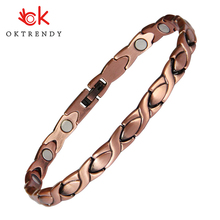Oktrendy magnetic bracelet femme energy magnet stone bracelet 3000 Gauss can adjustable for working Rheumatism hand women