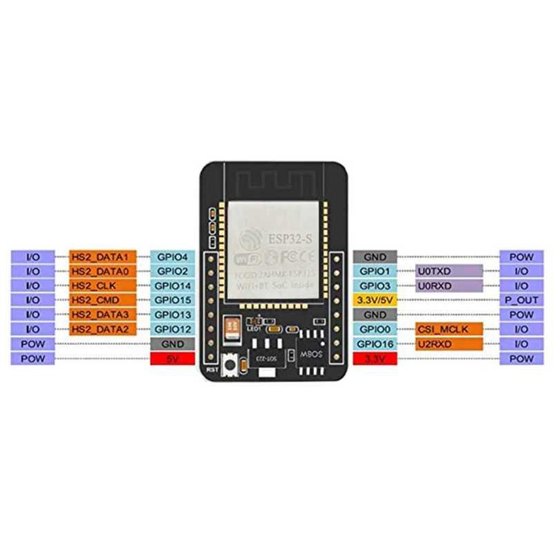 2 ensemble caméra Esp32-Cam Wifi + Module Bluetooth 4M Psram carte de développement Cpu double cœur 32 bits avec Module de caméra Ov2640 2Mp Sup